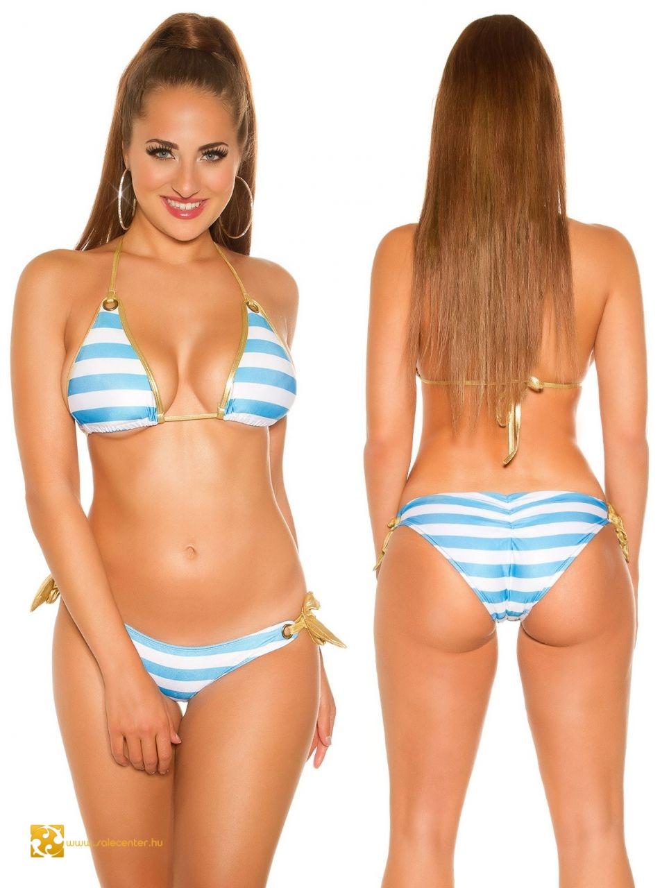 Matróz csíkos bikini arany szegéllyel 5 színben (S aa63ad4c91