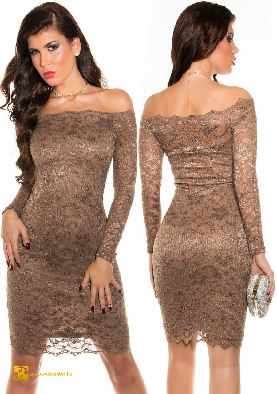 Ejtett vállú hosszú ujjú elegáns csipke ruha 7 színben (S ffecd08685