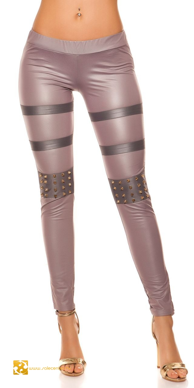 Bőr hatású szegecses leggings 5 színben (S-M,M-L)