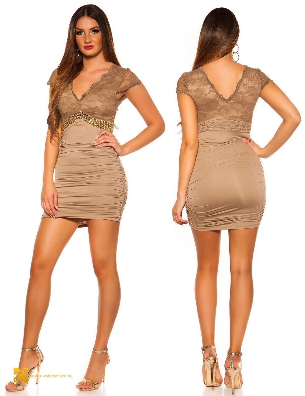 Csipkés felsőjű alkalmi ruha strasszos díszítéssel 5 színben elegáns ... d434379014