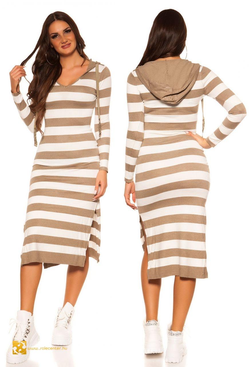 Kötött kapucnis hosszú ruha 6 színben csíkos maxi kötött hosszú ruha ... 8c12a8ecdd