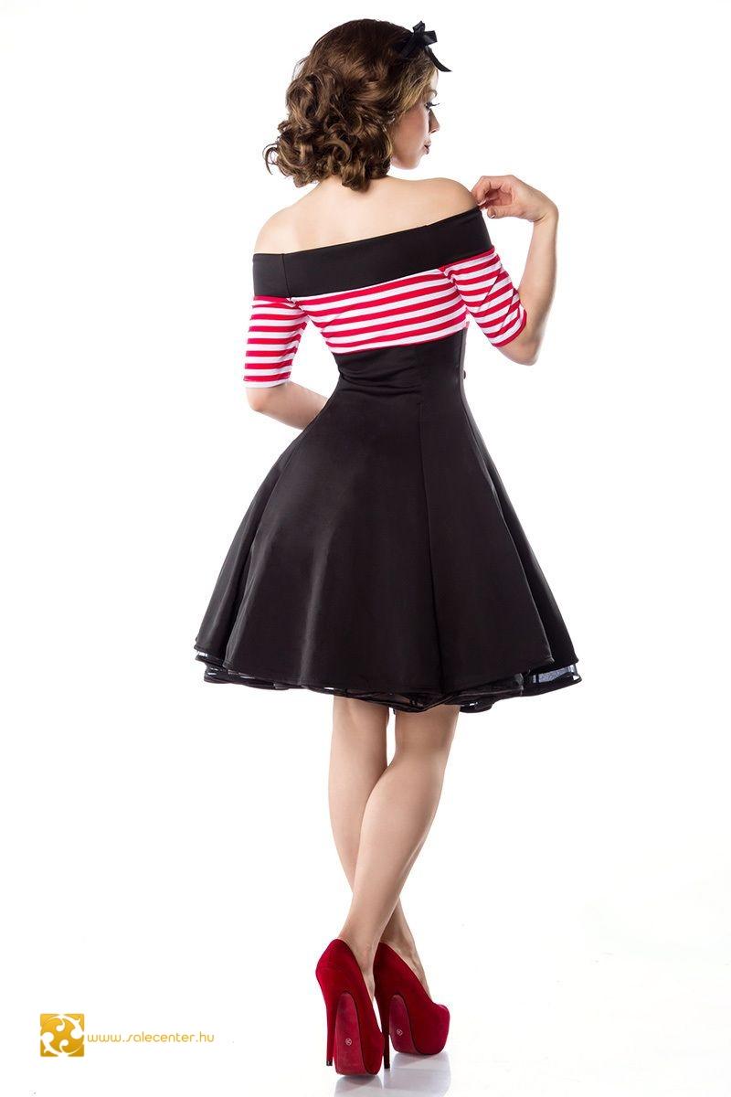Vintage csíkos betétes női ruha 3 színben (XS,S,M,L,XL,2XL,3XL)