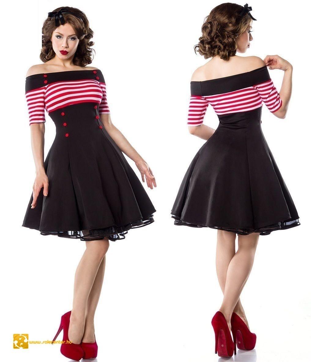 Vintage csíkos betétes női ruha 3 színben (XS d0b6dce756