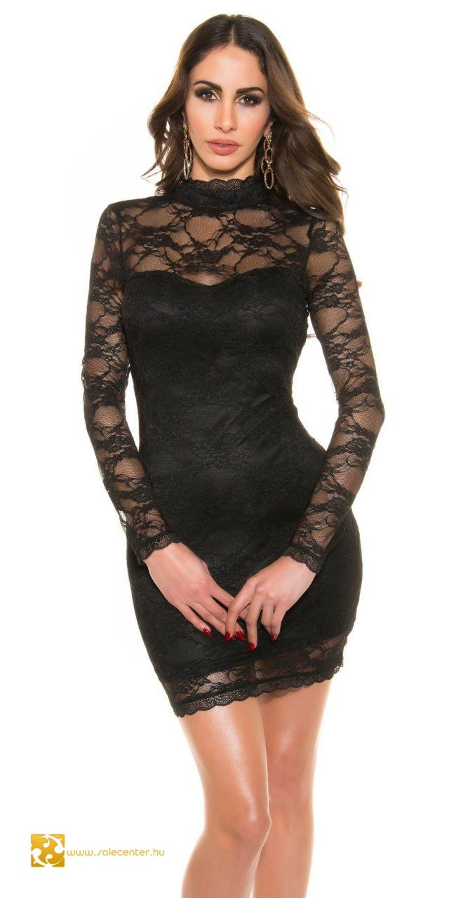 Magas nyakú csipke ruha nyitott háttal 3 színben csinos elegáns ... 8431d372be