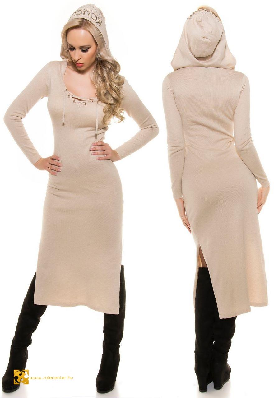 Kötött maxi ruha kapucnival 5 színben kötött hosszú fazonú ruha ... d8d57682f3