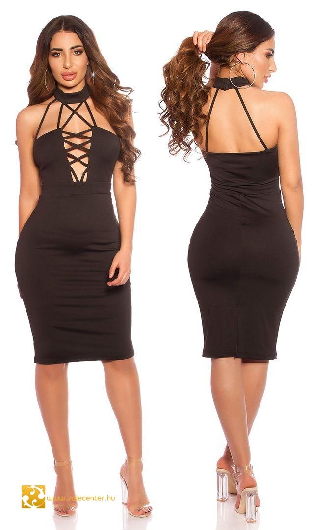 Fekete alkalmi ruha merész szabással (S ab7de7ccd0
