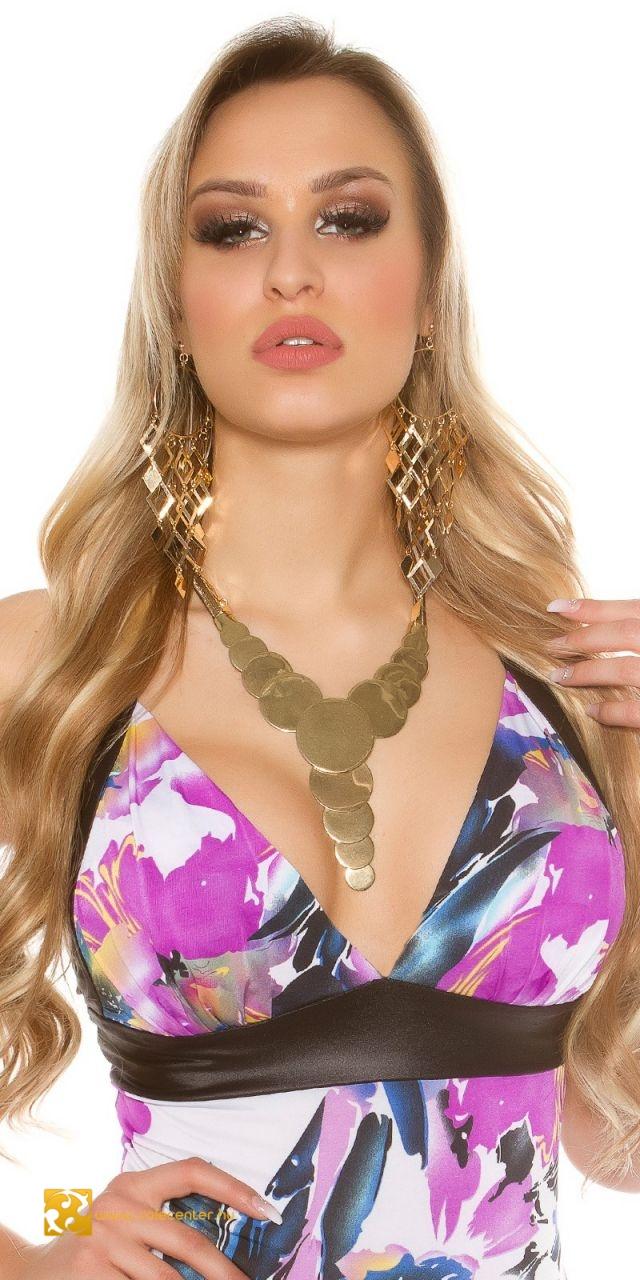 Elegáns karika díszítésű nyaklánc 2 színben