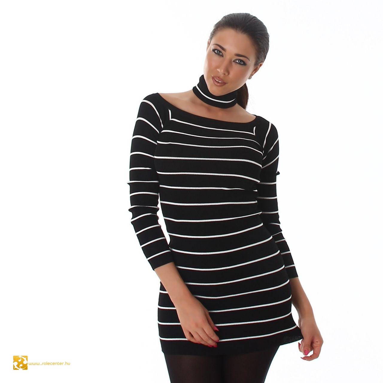 Csíkos levehető nyakpántos pulcsi 6 színben 479b3f3389