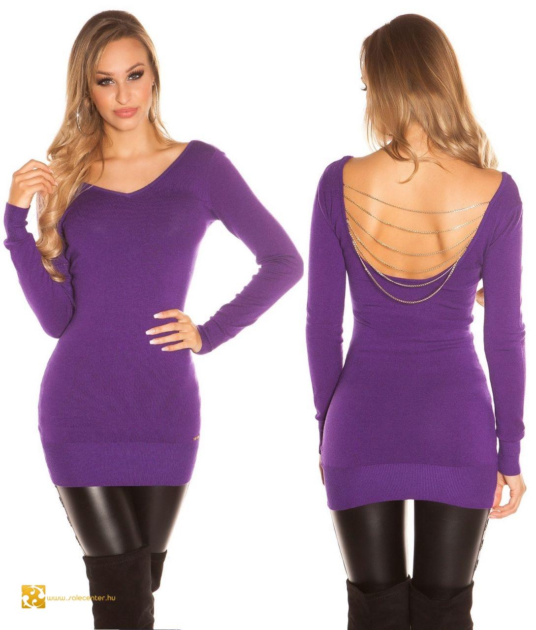 Kötött pulóver hátán lánc díszítéssel 13 színben