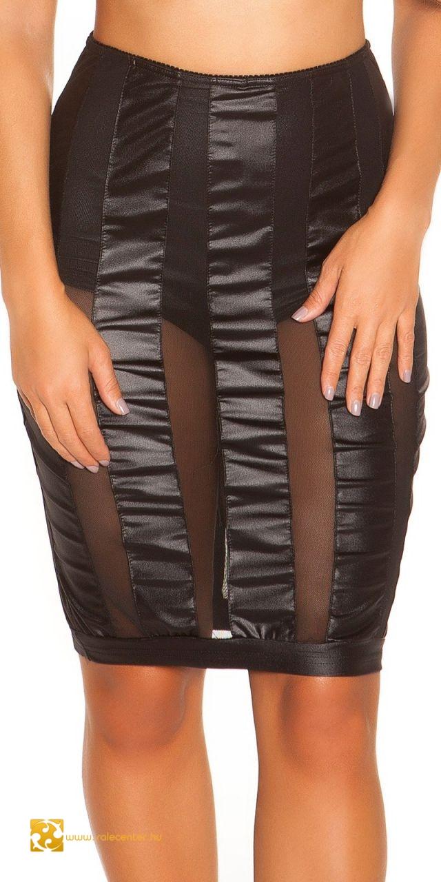 Fekete áttetsző betétes bőr hatású nadrág és szoknya (S,M,L)