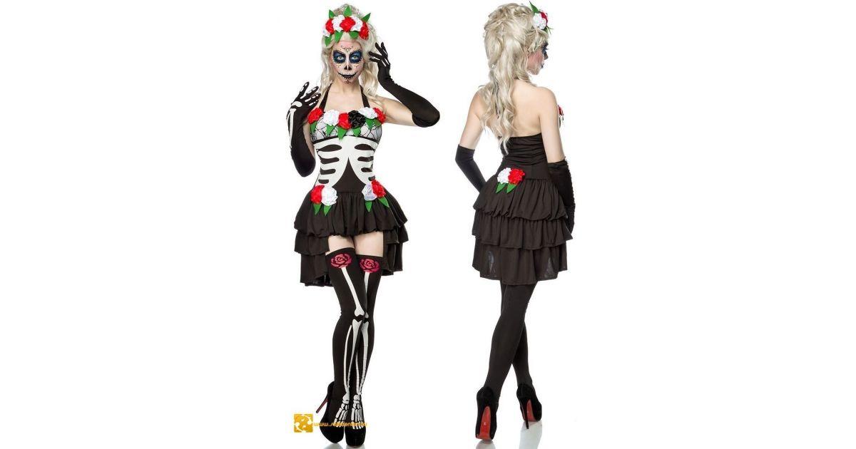 142f9732ed Mexikói csontváz jelmez kosztüm, női jelmez halloween ruha divatos trendi  csini csinos ruha kosztüm együttes szett ruha farsang zombie halott női  salecenter