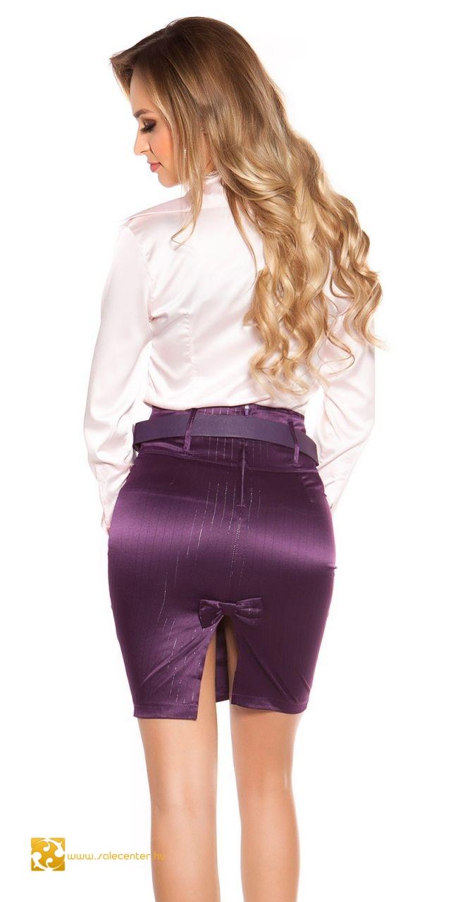 Csíkos elegáns szoknya övvel magas derékkal 5 színben (S,M,L,XL)