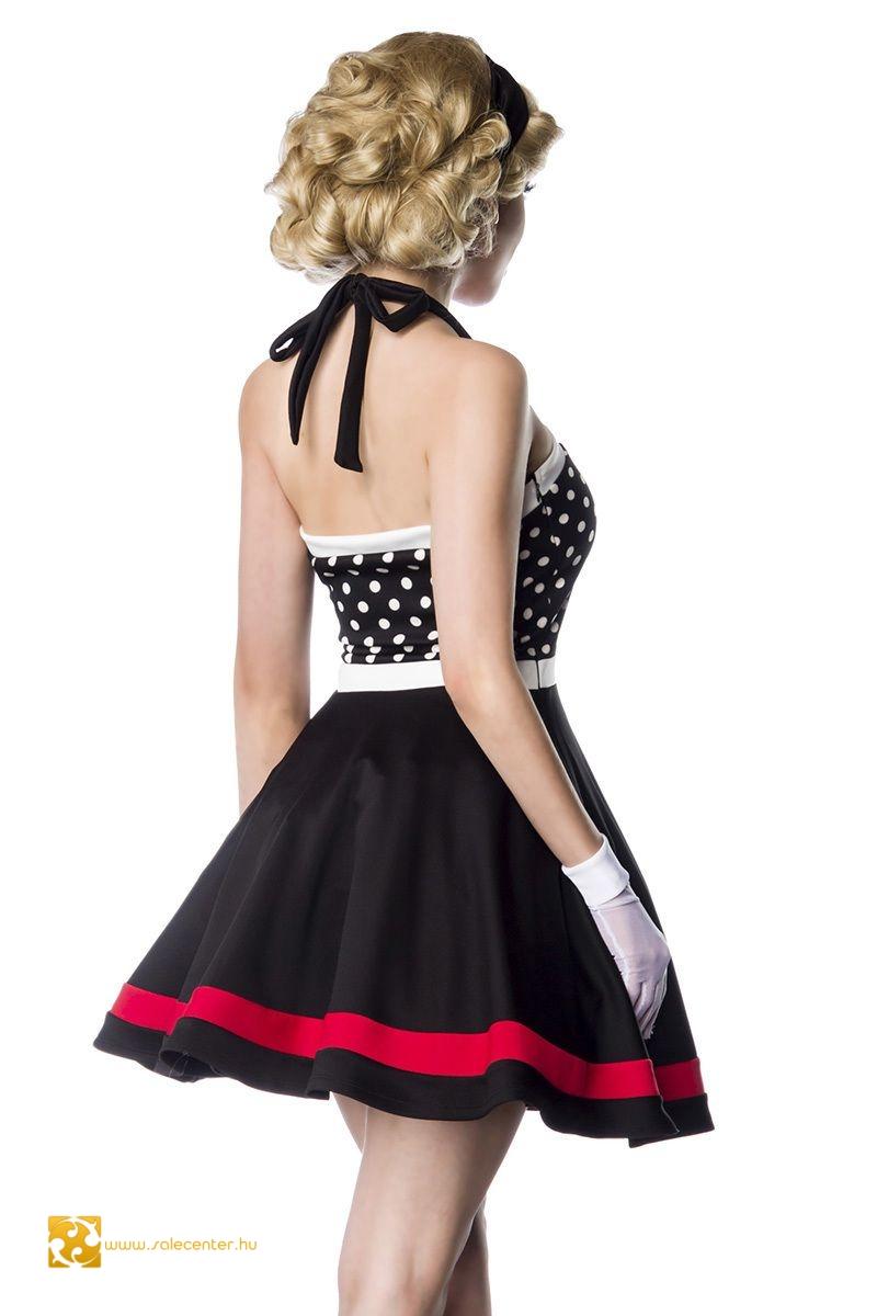 Vintage ruha pöttyös felsővel masnival 2 színben (S,M,L,XL,2XL)