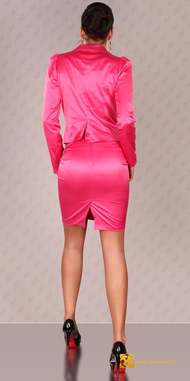 Szatén hatású kosztüm csipke derekú szoknyával 5 színben (XS,S,M,L)