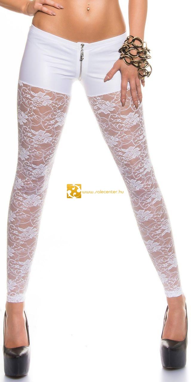 Szexi csipke szárú leggings műbőr cipzáros felsőrésszel 3 színben (S,M,L,XL)