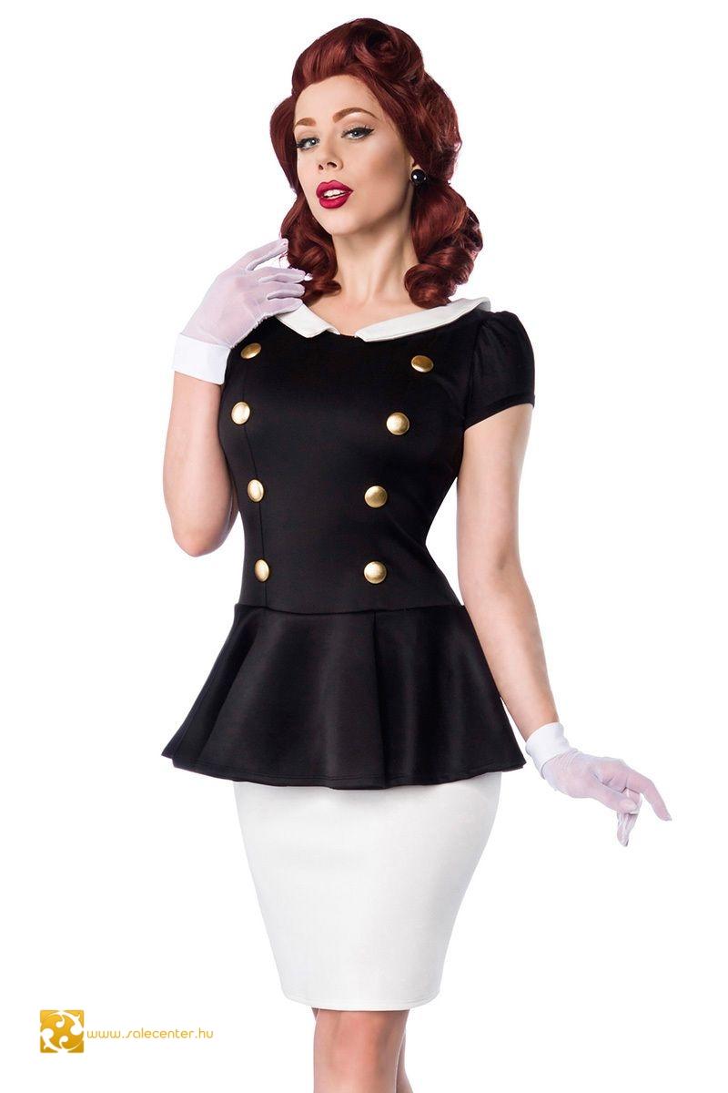 62f3e83be7 Vintage stílusú ruha gomb díszítéssel 2 színben (XS,S,M,L,XL,2XL,3XL ...
