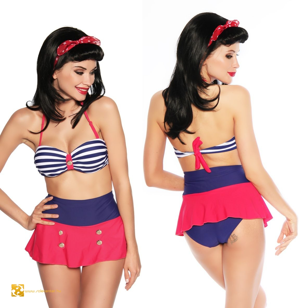 1fe901e5cb Szoknyás magas derekú Vintage bikini (S,M,L,XL) fürdőruha bikini ...