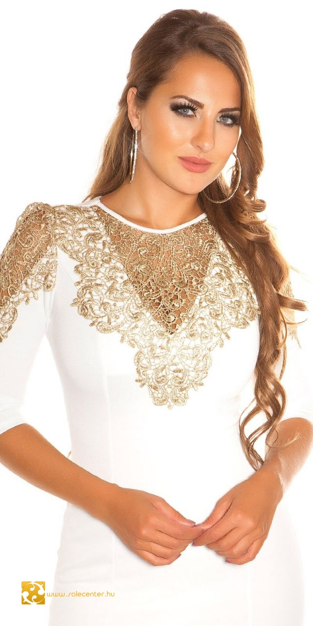 bf5c598ce2 Elegáns ruha arany színű csipke díszítéssel 4 színben (S,M,L,XL ...