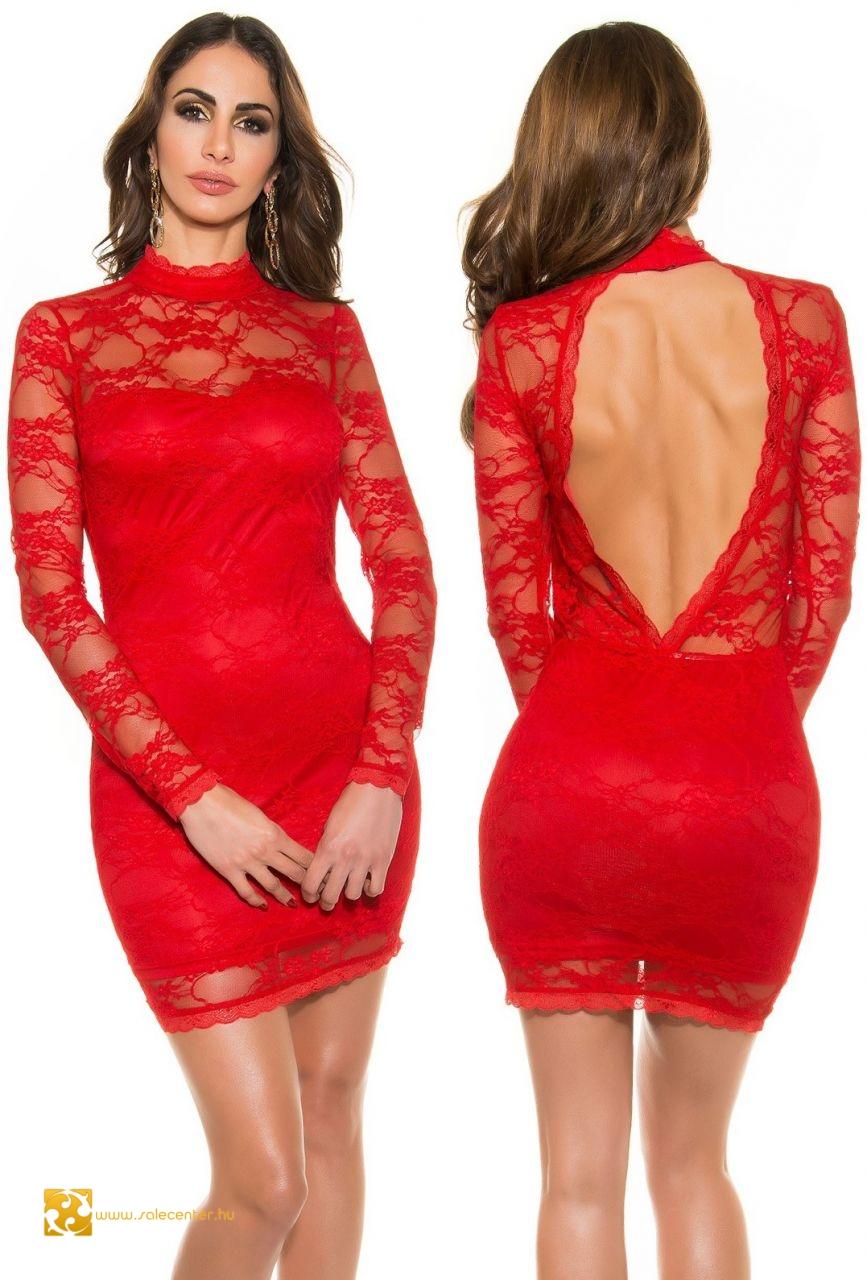 2eca48d87a Magas nyakú csipke ruha nyitott háttal 3 színben csinos elegáns ...