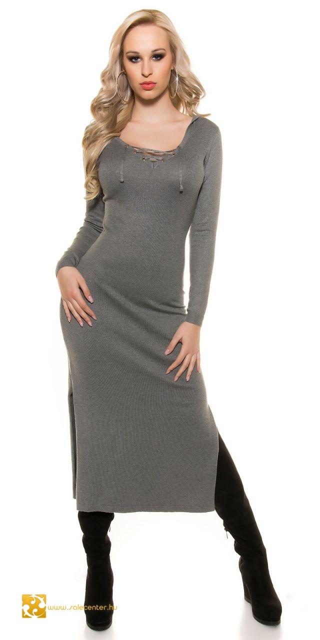 3eceb7692b Kötött maxi ruha kapucnival 5 színben kötött hosszú fazonú ruha ...