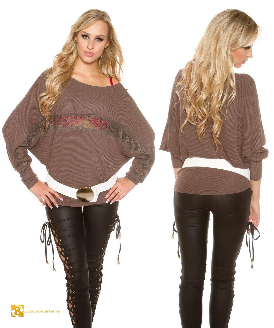 1787da0cee Denevér ujjú pulcsi csipkével 5 színben pulóver felső divatos trendi ...