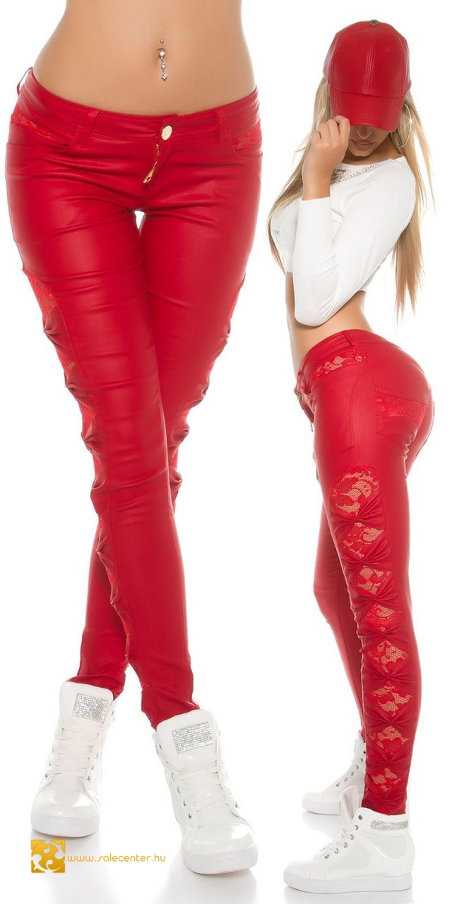 Műbőr hatású nadrág csipke betéttel 4 színben (S,M,L,XL)