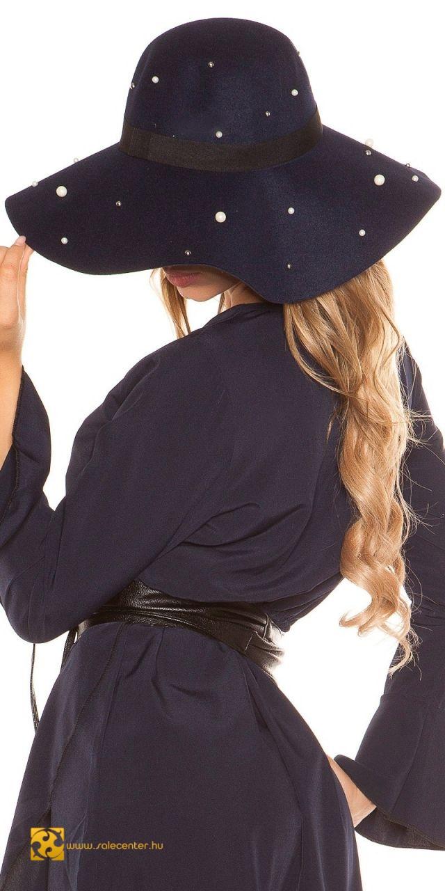 Karimás kalap gyöngyökkel díszítve 7 színben