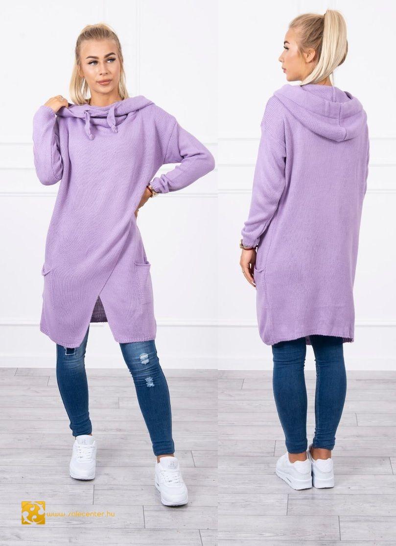 Átlapolt hatású kötött pulóver 19 színben
