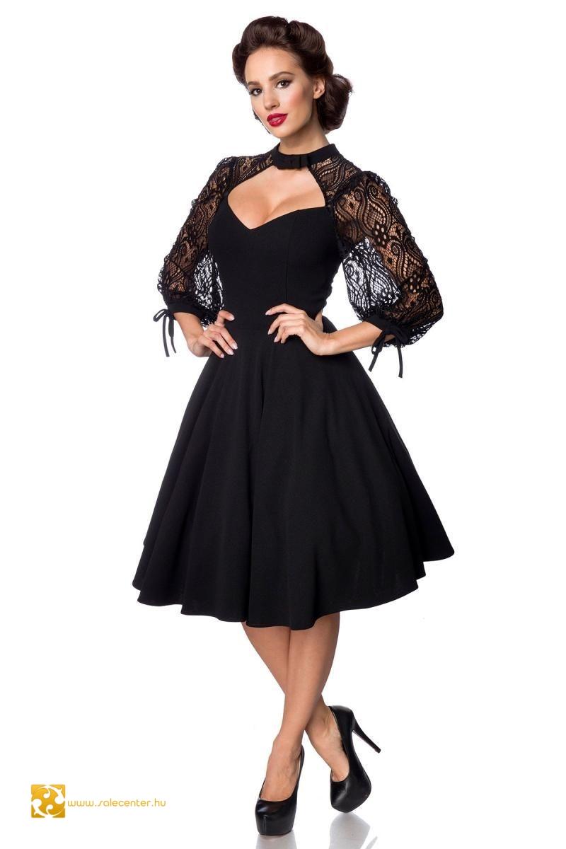 Csipke ujjú fekete Belsira ruha (S,M,L,XL,2XL,3XL,4XL)