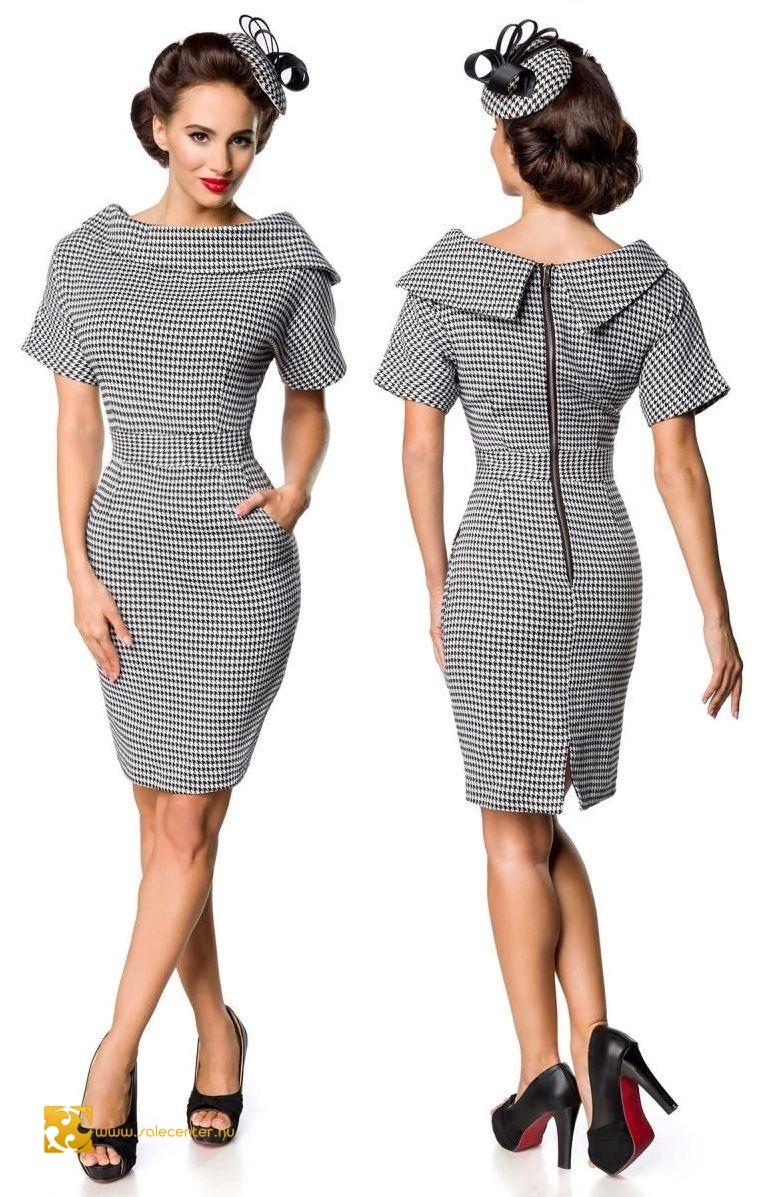 Kockás testhezálló ruha gallérral (S,M,L,XL,2XL,3XL)