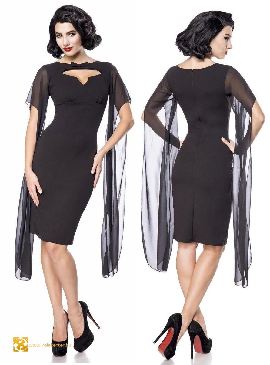 Fekete uszályos Belsira ruha (XS,S,M,L,XL,2XL,3XL,4XL)