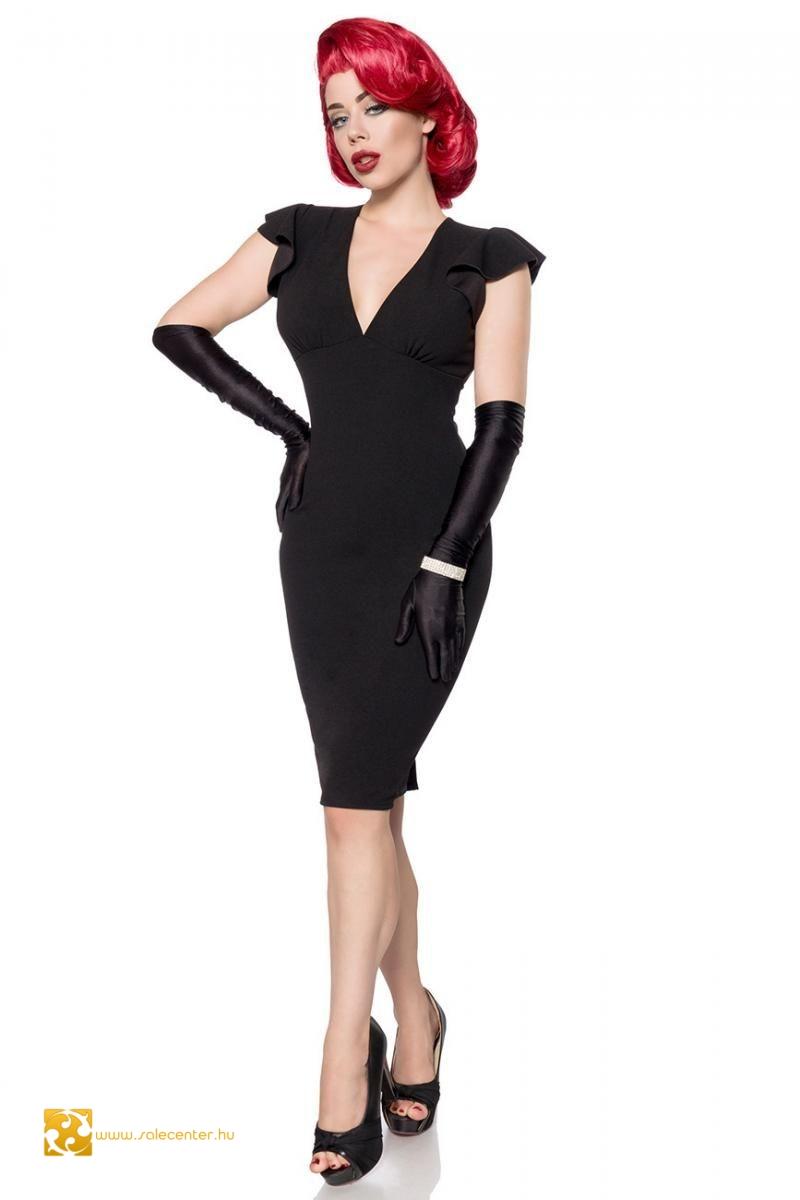 Fodros fekete ujjatlan Belsira ruha (XS,S,M,L,XL,2XL,3XL)
