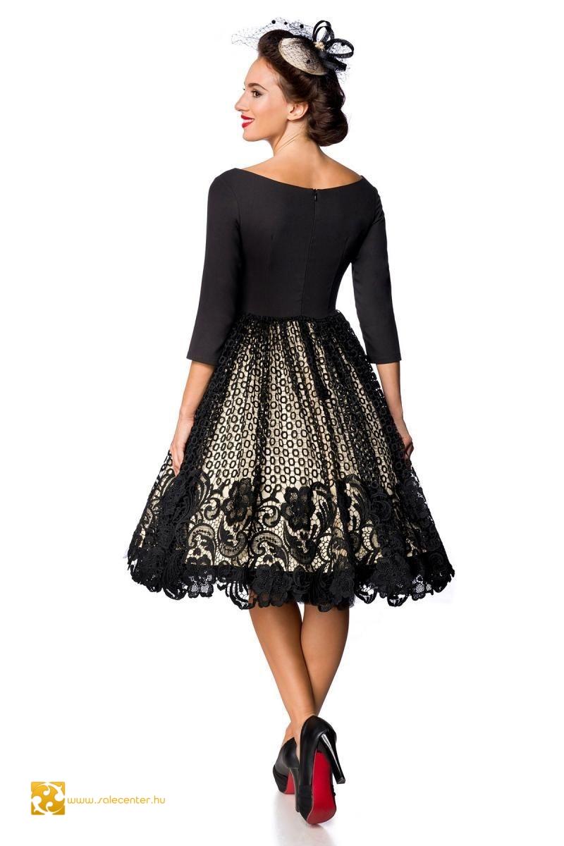 Fekete - bézs csipkés Belsira ruha (S,M,L,XL,2XL,3XL,4XL)