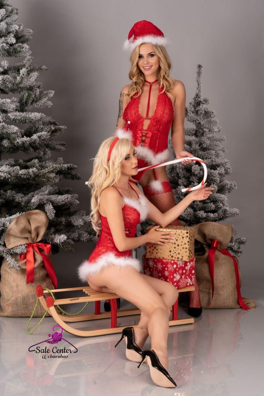 Livia Corsetti Alimena fűzős szőrme díszítéses karácsonyi fehérnemű szett (S-M,L-XL)
