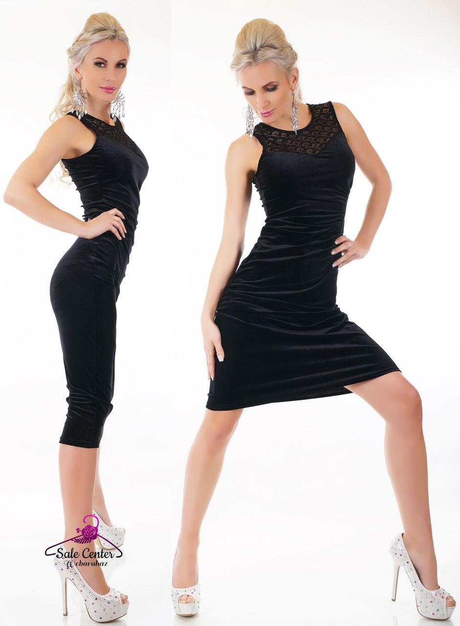 Elegáns fekete bársony ruha csipke díszítéssel