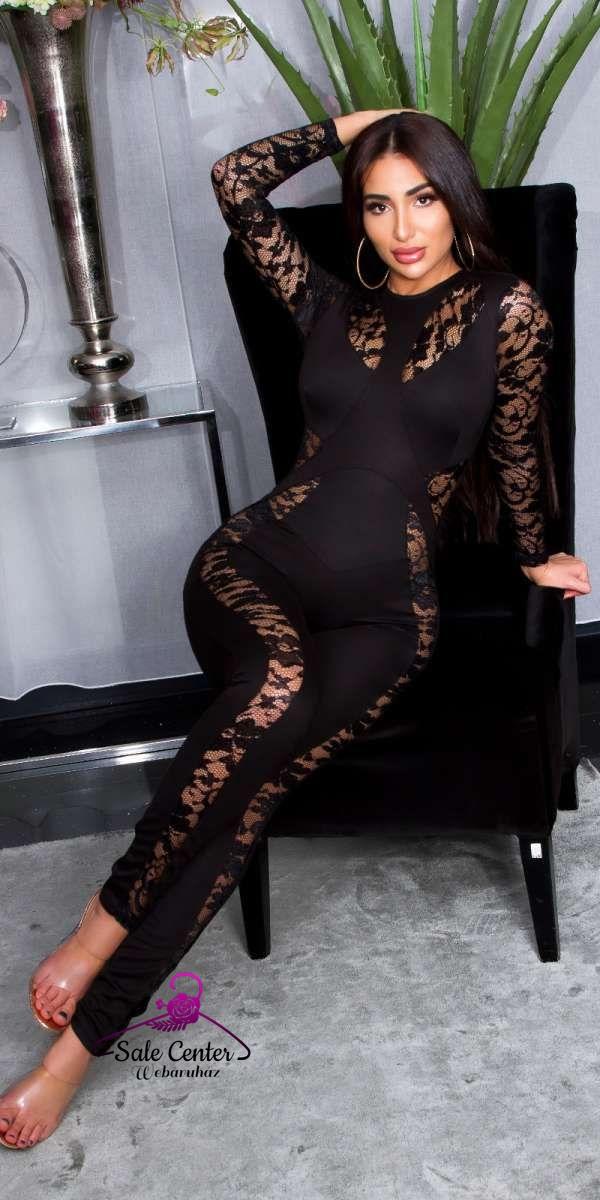 Csipke betétes szexi fekete overall hosszú ujjal