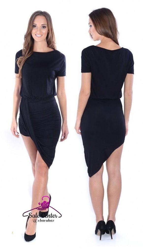Aszimmetrikus szabású ruha fekete színben