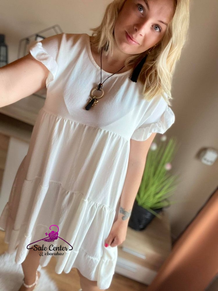 Fodros krém színű ruha nyaklánccal