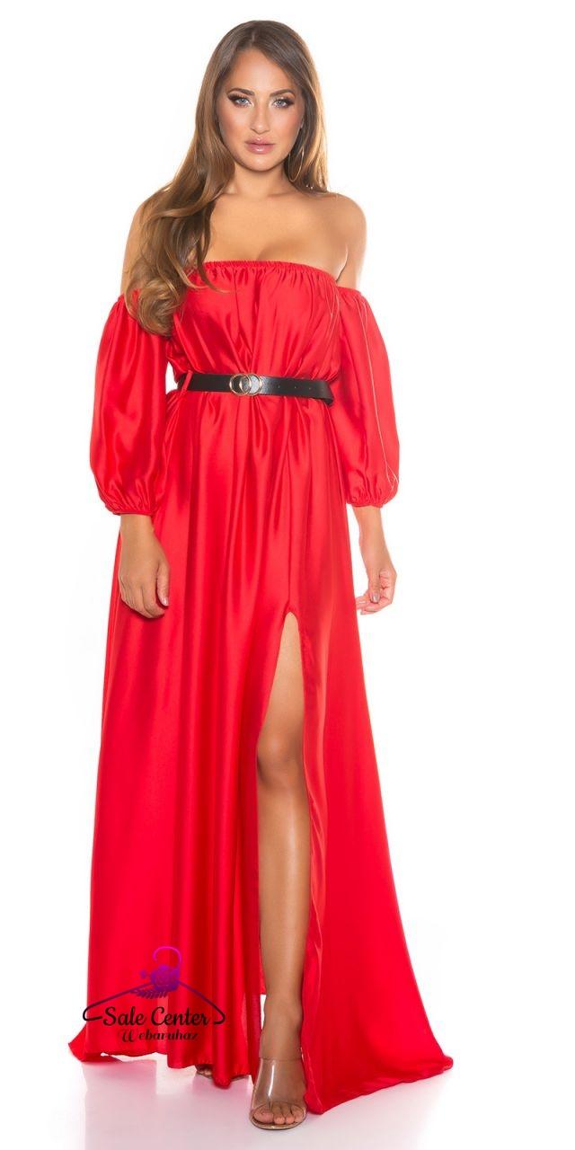 Szatén anyagú váll nélküli maxi ruha övvel 7 színben